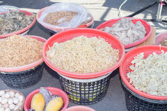Dried bamboo shoots and rice dumplings ingredients. In a market Royalty Free Stock Photos