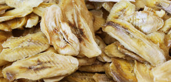 Dried banana. Dried slices of banana in shop Stock Images