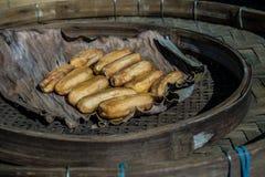 Dried banana. In bamboo tray Royalty Free Stock Photo