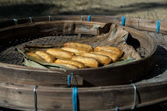 Dried banana. In bamboo tray Royalty Free Stock Photography