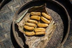 Dried banana. In bamboo tray Stock Image