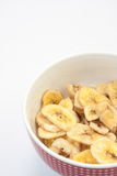 Dried banana in a bowl Stock Photo