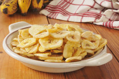 Dried banana chips Royalty Free Stock Photos