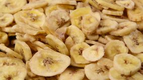 Dried banana chips stock video