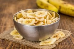 Dried Banana Chips, selective focus stock photos