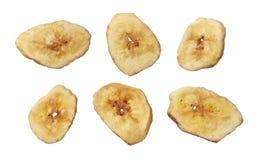Dried banana slice isolated on white background Royalty Free Stock Photo