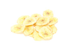 Dried banana in a white background Royalty Free Stock Photography