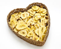 Dried bananas in basket Stock Photography