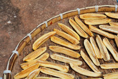 Dried bananas threshing Stock Image