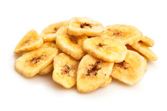 Dried bananas. On white background Royalty Free Stock Photos
