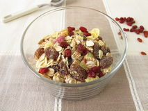 Dried barberries in muesli Stock Images