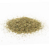 Dried basil spice on white background. Pile of dried basil spice on white background royalty free stock image