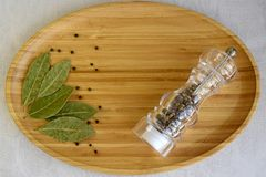 Dried bay laurel leaves, black peppercorns, pepper shaker stock photography