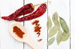 Dried bay leaf and red hot chili pepper on a wooden background. Royalty Free Stock Photography