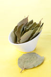 Dried bay leaves in a bowl Stock Photos