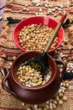 Dried beans on a wooden table Stock Photography