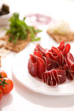 Dried beef meat. Appetizer from dried beef meat Royalty Free Stock Images