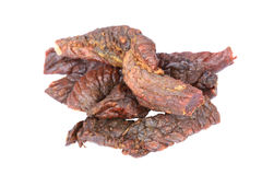Dried beef. On the white background