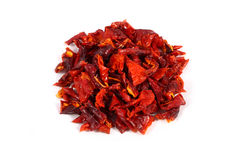 Dried bell pepper. Sliced pieces stock image