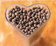 dried berries coffee beans on shaped heart bottle Stock Photography