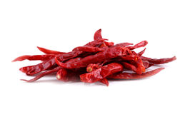 Dried big chili on white background Royalty Free Stock Image