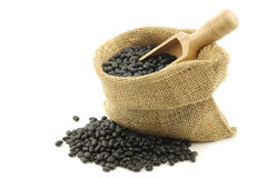 Dried black beans in a burlap bag Stock Images