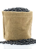 Dried black beans in Sacks fodder Royalty Free Stock Image