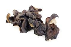 Dried black Fungus (Jew's Ear Mushroom ) on white Royalty Free Stock Images