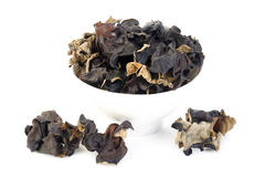 Dried black Fungus  on white Royalty Free Stock Photo