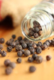 Dried black pepper seeds Stock Photo