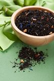 Dried black tea in bowl Royalty Free Stock Photos