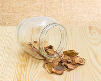 Dried boletus in glass jar and on wooden surface Royalty Free Stock Images