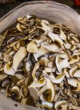 Dried boletus mushrooms for sale on the market. stock photo
