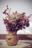 Dried boquet in pot, toned image Stock Images
