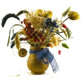Dried bouquet. In vase over white Stock Photo