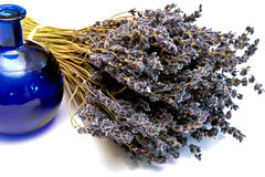 Dried bouquet of fragrant lavender and blue bottle Royalty Free Stock Photo