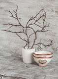 Dried branch in white gypsum vase and ceramic bowl on a white rustic wooden table. Royalty Free Stock Photo