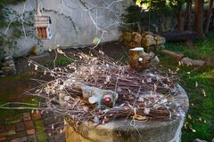 dried branches and leaves as decorations in the garden stock images
