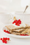 Dried bread with cottage cheese Royalty Free Stock Photography