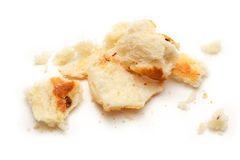Dried bread crumbs. On the white background royalty free stock image