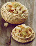 Dried Bread Cubes Stock Photo