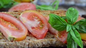 Dried bread and tomato stock footage