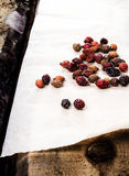 Dried briar or berry Rose hips on vintage wooden background.  He Stock Image