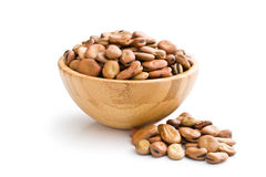Dried broad beans in wooden bowl Stock Images
