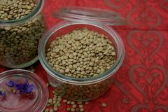 Dried brown lentils. Some dried brown lentils in a bowl stock photo