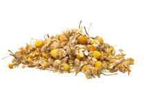 Dried camomile. On white background Royalty Free Stock Image