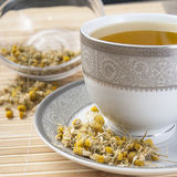 Dried camomile flowers surrounding fresh up of camomile tea. Close up photo Stock Photos