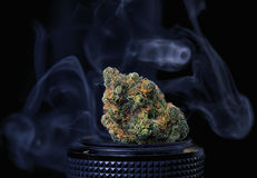 Dried cannabis bud in top of digital camera lens - marijuana pho Stock Photos