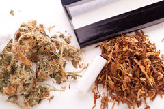 Dried Cannabis on Rolling Paper with Filter. Close up Dried Cannabis Leaves on a Resealable Cellophane Wrapper and a Rolling Paper with Filter on Top of the Stock Photos