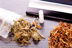Dried Cannabis on Rolling Paper with Filter. Close up Dried Cannabis Leaves on a Resealable Cellophane Wrapper and a Rolling Paper with Filter on Top of the Stock Images